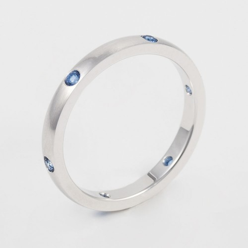 Anillo Colors oro blanco con 6 topacios naturales Kashmir Blue
