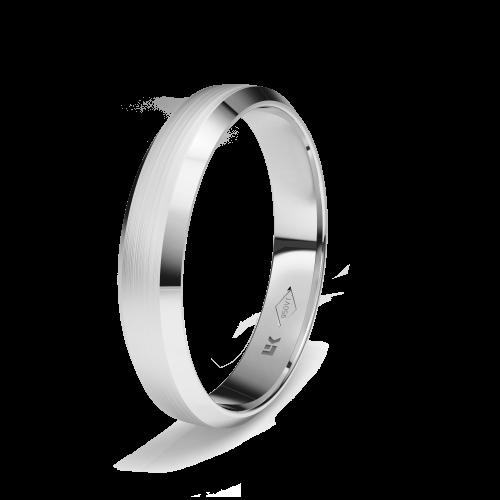 Anillo de compromiso de platino forma trapecio