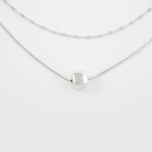 Collar TINY cadena doble + cubo