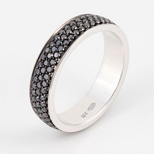 Anillo Colors  oro blanco con 3 filas de pavé de diamantes negros