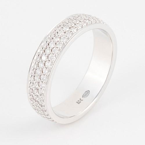 Anillo Colors  oro blanco con 3 filas de pavé de diamantes blancos