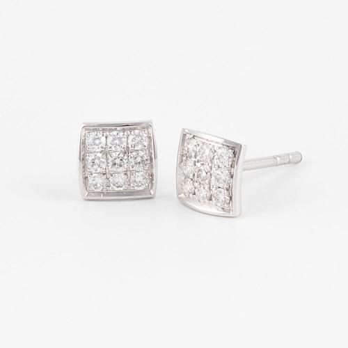 Pendientes cuadrados Colors oro blanco con diamantes blancos