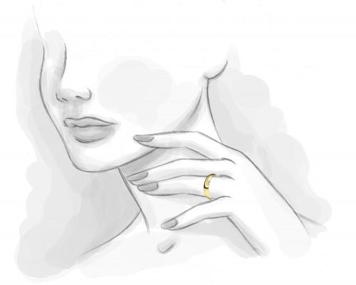 Alianza almendrada diamante interior