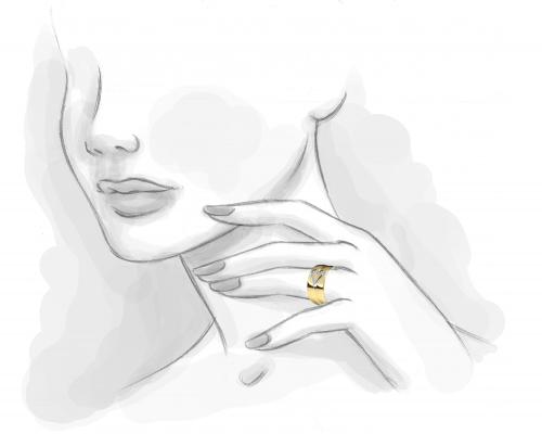 Alianza bicolor Medio corazón con diamantes