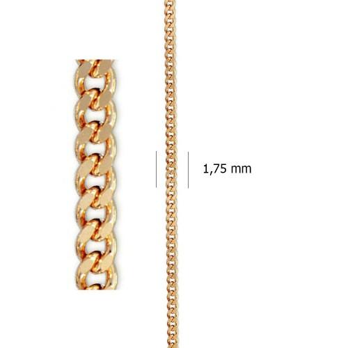 Cadena Barbada Lapidada de oro amarillo de 18 kt