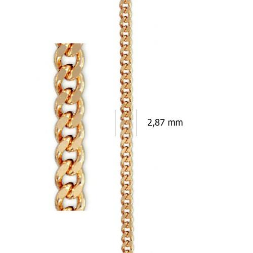 Cadena hueca Barbada Lapidada de oro amarillo de 18 kt