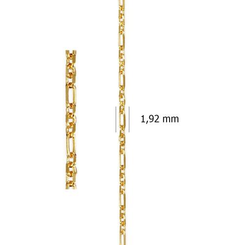 Cadena Programada Ancora Lapidada 3-1 de oro amarillo de 18 kt