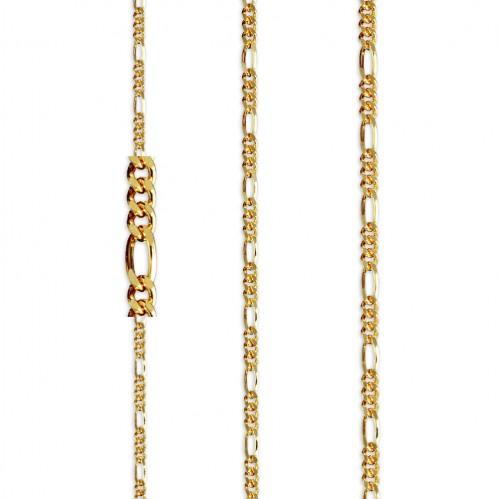 Cadena Programada Barbada 3-1 de oro amarillo de 18 kt