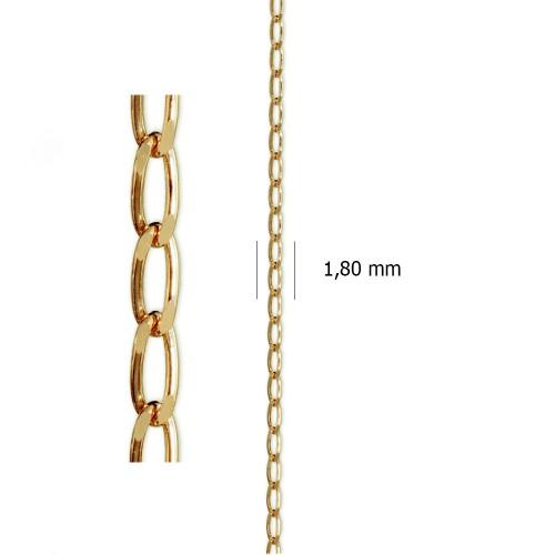 Cadena Barbada Fígaro de oro amarillo de 18 kt